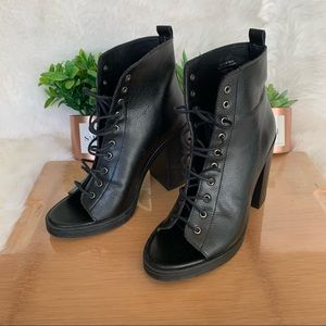 Zara Trafaluc Lace Up Peep Toe Combat Heel
